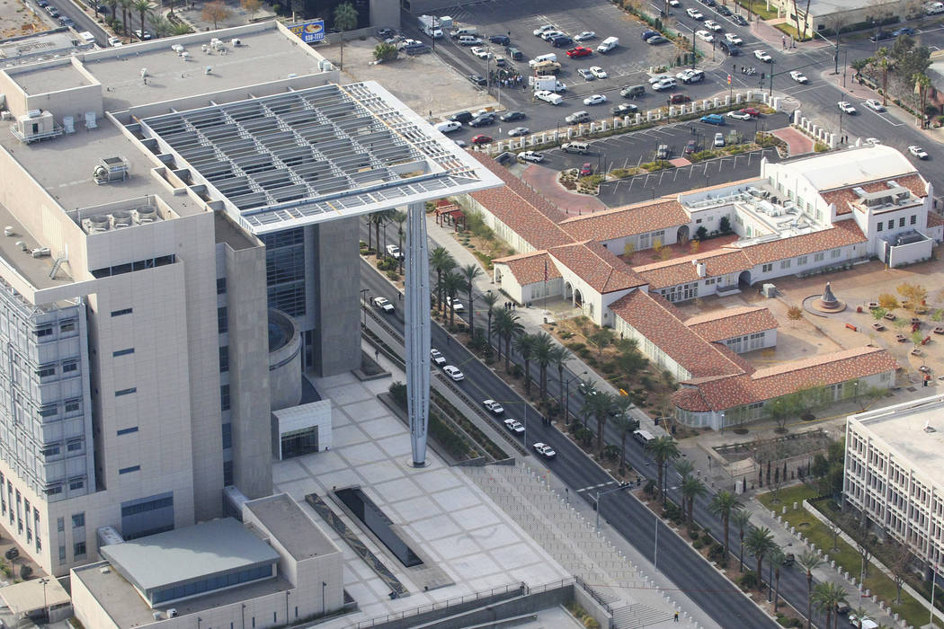 Lloyd George Federal Courthouse, at left, was the scene of a fatal shooting on Monday, Jan. 4, ...