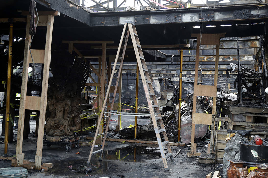 FILE - This Dec. 2, 2016, file photo shows the inside of the charred warehouse called the Ghost ...