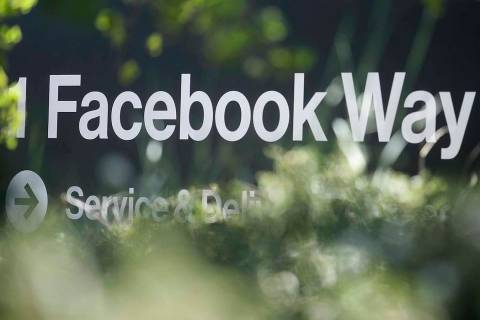 FILE - In this April 25, 2019, file photo an address sign for Facebook Way is shown in Menlo Pa ...