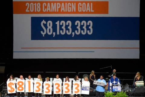 A Sept. 6, 2018, file photo shows Campaign Chair Larry Silbermann announces a goal of $8,133,33 ...