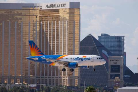 An Allegiant Air flight prepares to land at McCarran International Airport in Las Vegas in 2018 ...