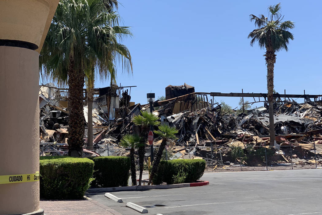 The scene of a June 17 fire at 3900 Paradise Road is seen on June 18, 2019. Clark County Fire D ...