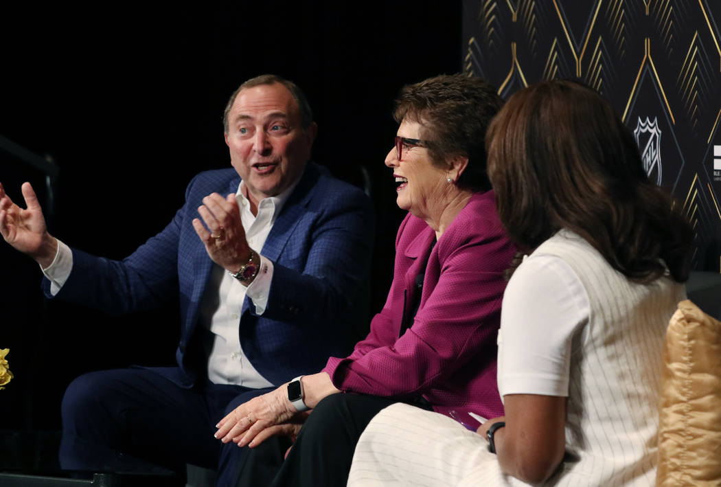 The National Hockey League commissioner Gary Bettman, left, and tennis icon Billie Jean King, c ...