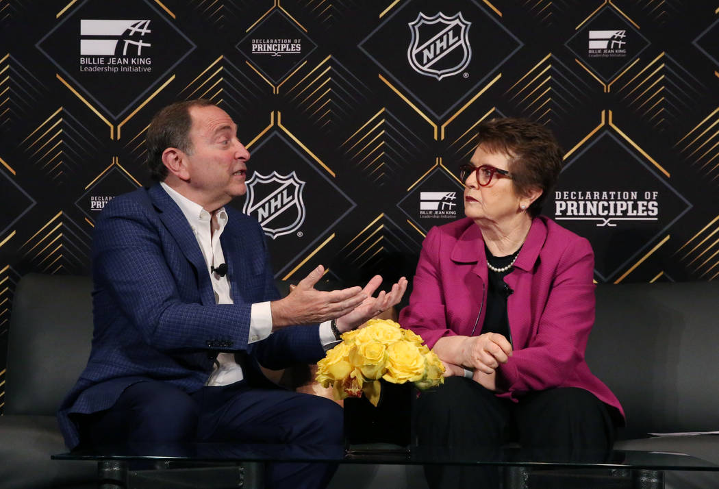 Tennis icon Billie Jean King listens as the National Hockey League commissioner Gary Bettman sp ...