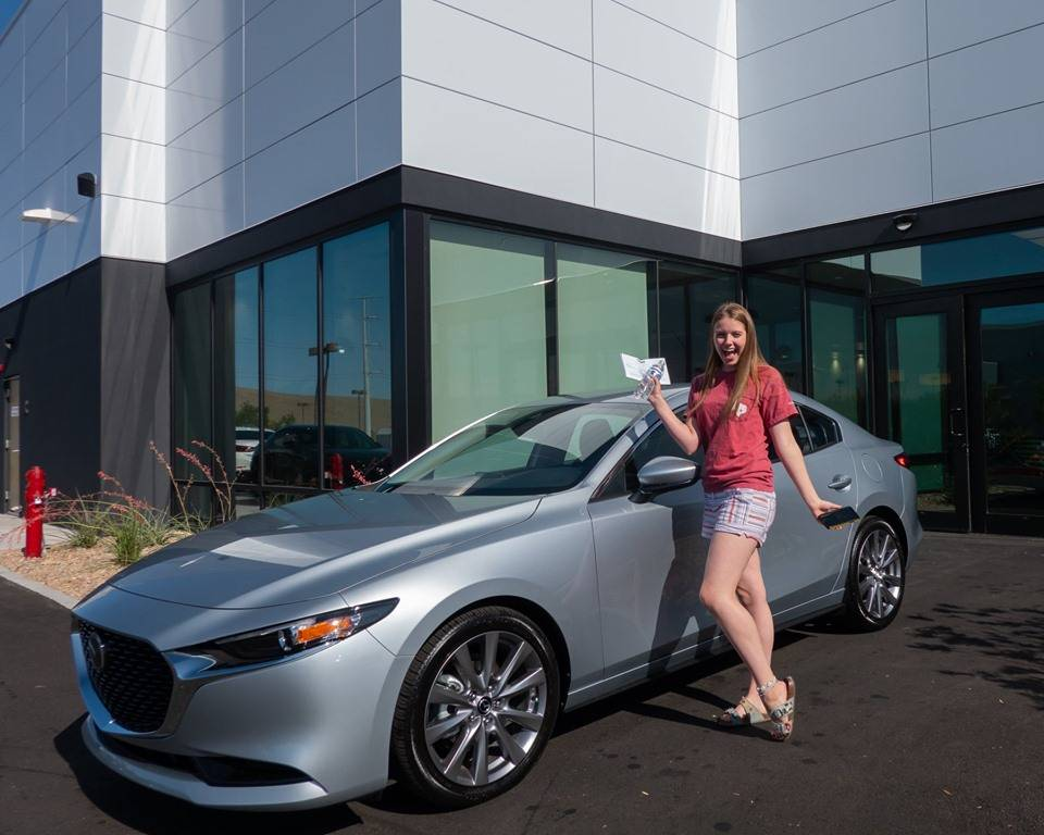 Green Valley High School student Molly Martin is seen with her 2019 Mazda3 purchased from Findl ...