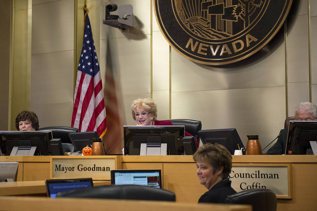 Members of the Las Vegas City Council listen to the Garehime Elementary School fifth grade clas ...