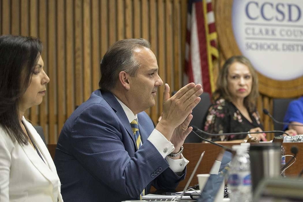 Clark County School Superintendent Dr. Jesus Jara addresses the Clark County School District Bo ...