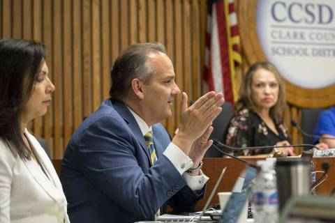 Clark County School Superintendent Dr. Jesus Jara addresses the Clark County School District Bo ...