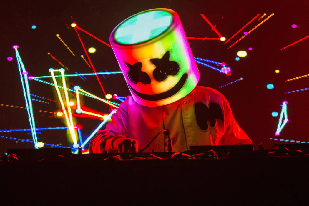 Marshmello performs during Snow Fest at Park City Live on Jan. 21, 2018, in Park City, Utah. (B ...