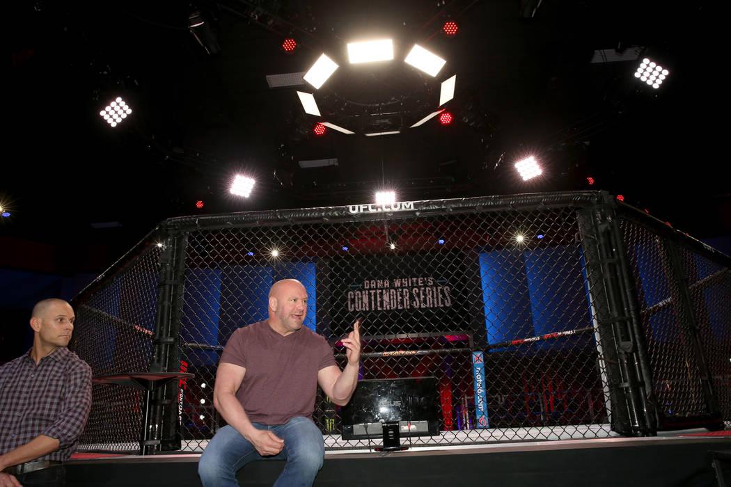 Ultimate Fighting Championship President Dana White, right, and Craig Borsari, UFC executive vi ...