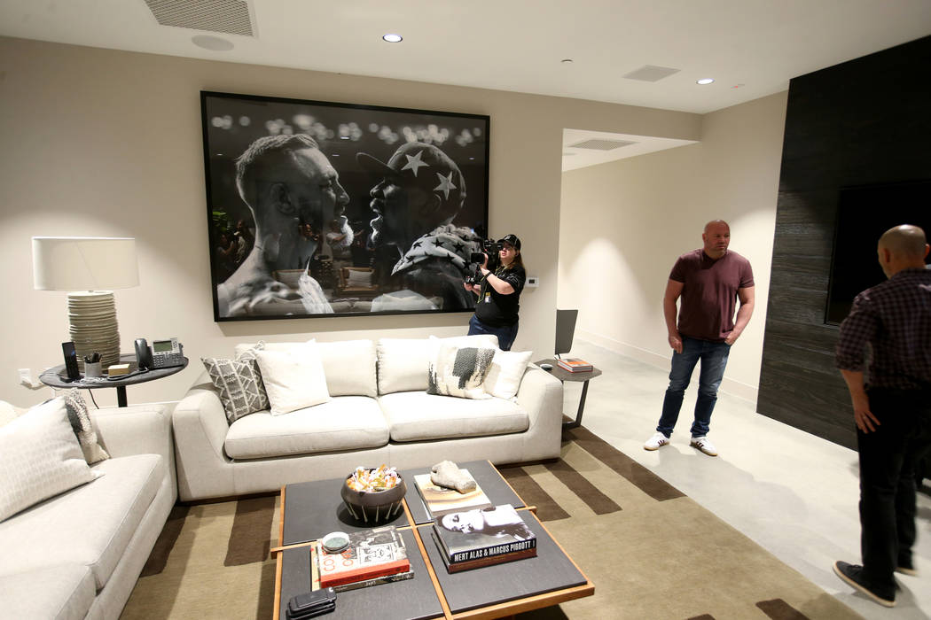 Ultimate Fighting Championship President Dana White shows his office during a tour of the new U ...