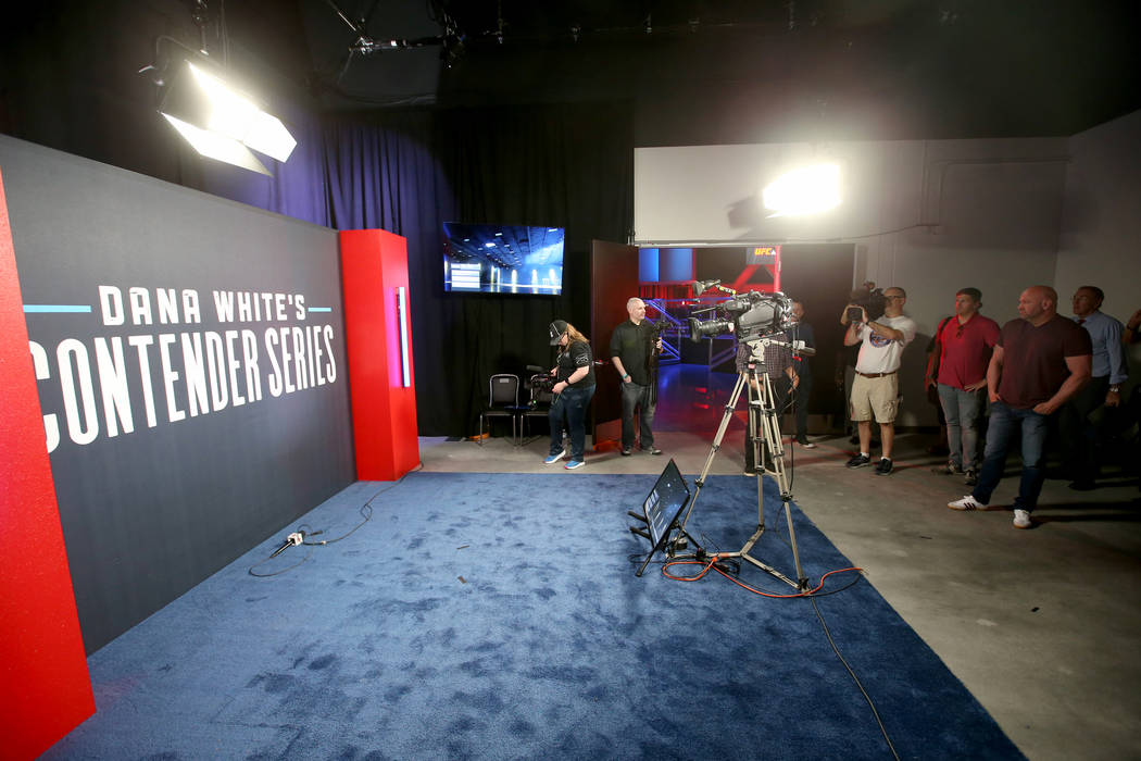 The post fight interview area is shown as Ultimate Fighting Championship President Dana White g ...