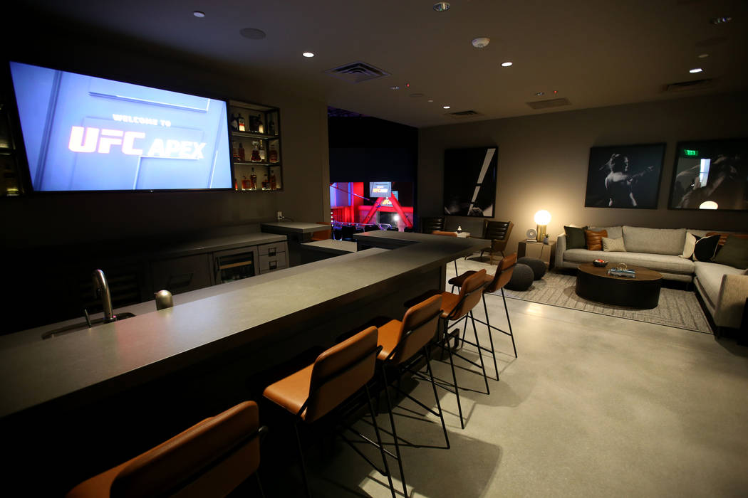 The VIP area overlooking the arena is shown during a tour of the new UFC Apex in Las Vegas Mond ...
