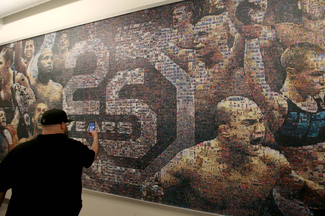 A mural in a hallway is shown during a tour of the new UFC Apex in Las Vegas Monday, June 17, 2 ...