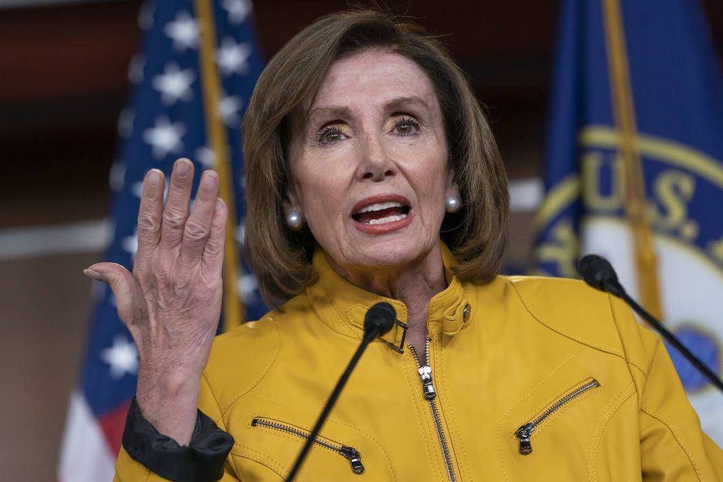 In this June 13, 2019 file photo, Speaker of the House Nancy Pelosi, D-Calif., speaks during a ...