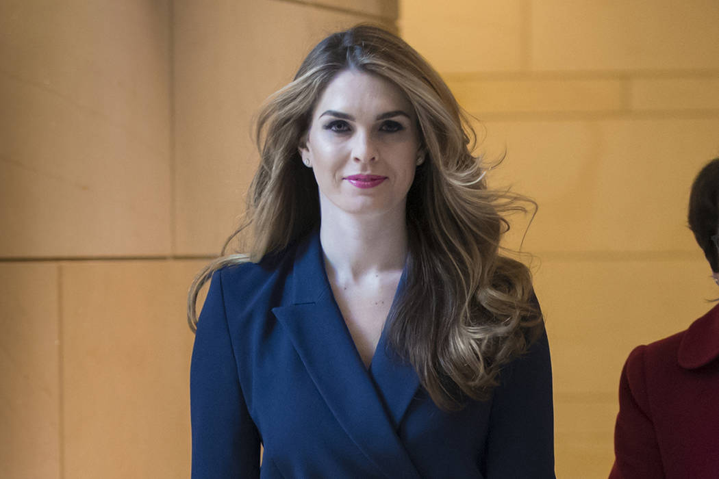 FILE - In this Feb. 27, 2018 photo, then-White House Communications Director Hope Hicks arrives ...