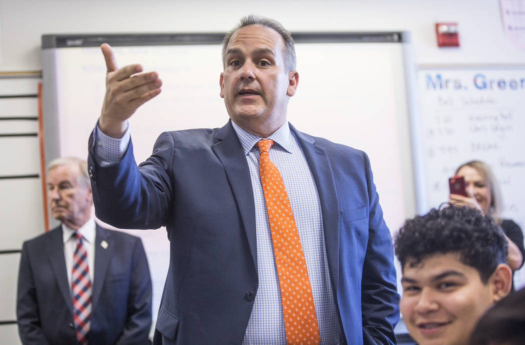 Clark County School District Superintendent Jesus F. Jara speaks to students in an english clas ...