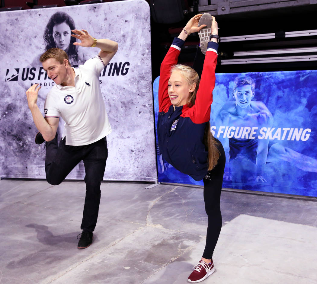 Olympic athletes Bradie Tennell of U.S. Figure Skating and Connor Fields of Team USA BMX pose o ...