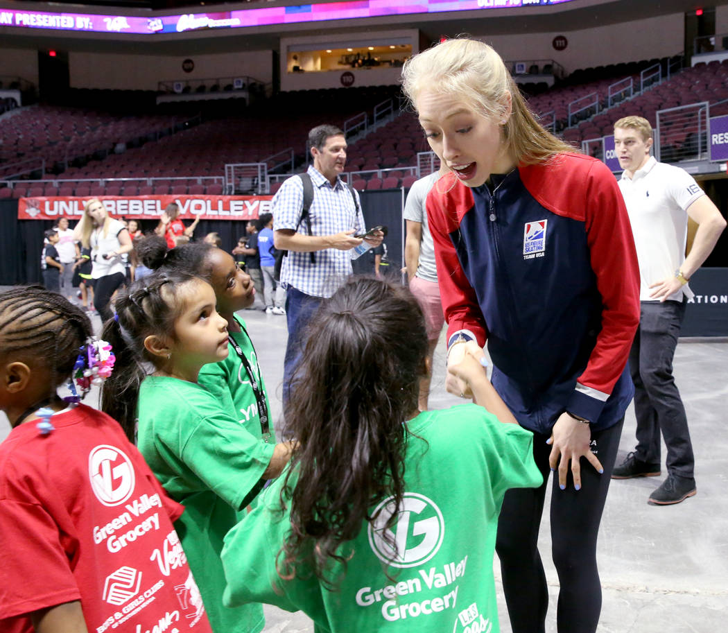 Olympic athlete Bradie Tennell of U.S. Figure Skating meets Kennedy Spears, 5, as Britany Arias ...