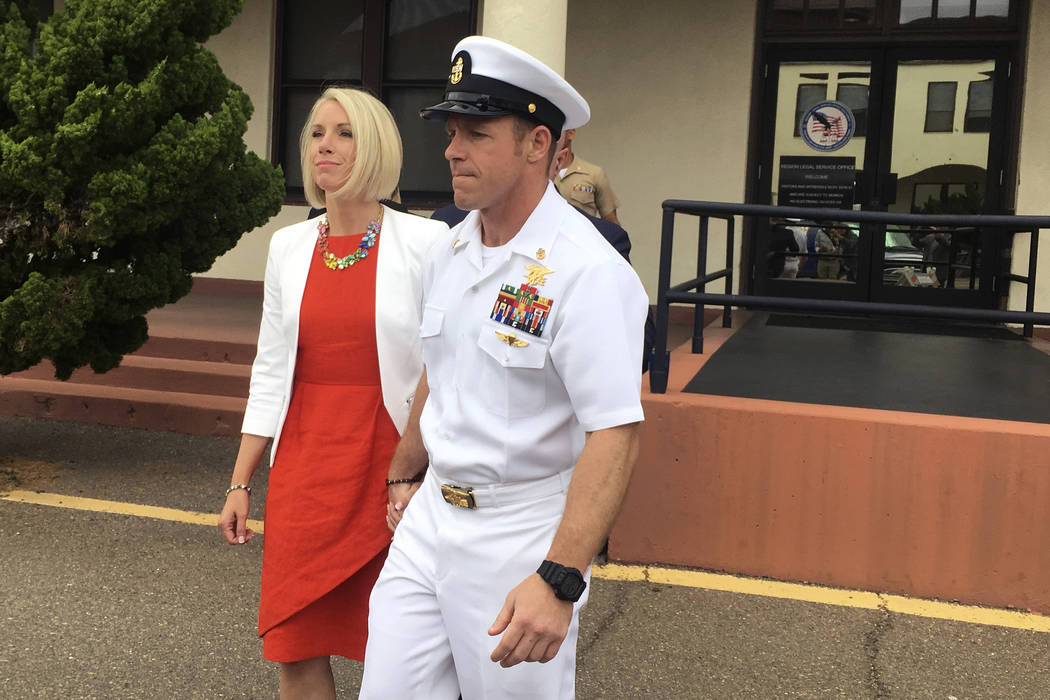 FILE - In this Thursday, May 30, 2019, file photo, Navy Special Operations Chief Edward Gallagh ...
