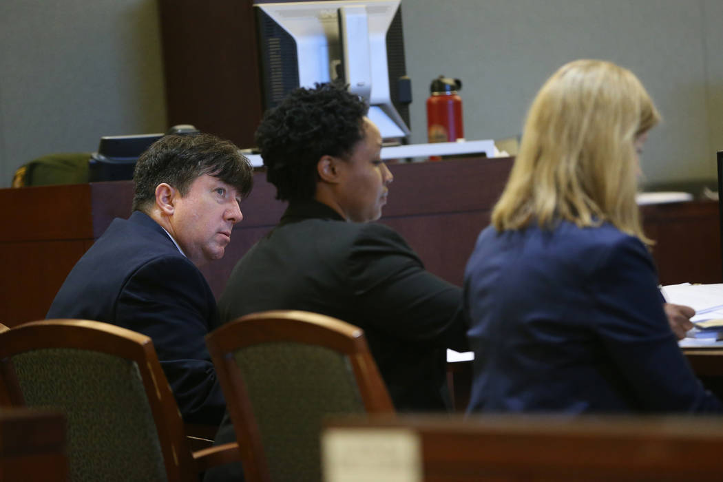 Dr. Mark Taylor, far left, during his trial at the Regional Justice Center in Las Vegas, Tuesda ...