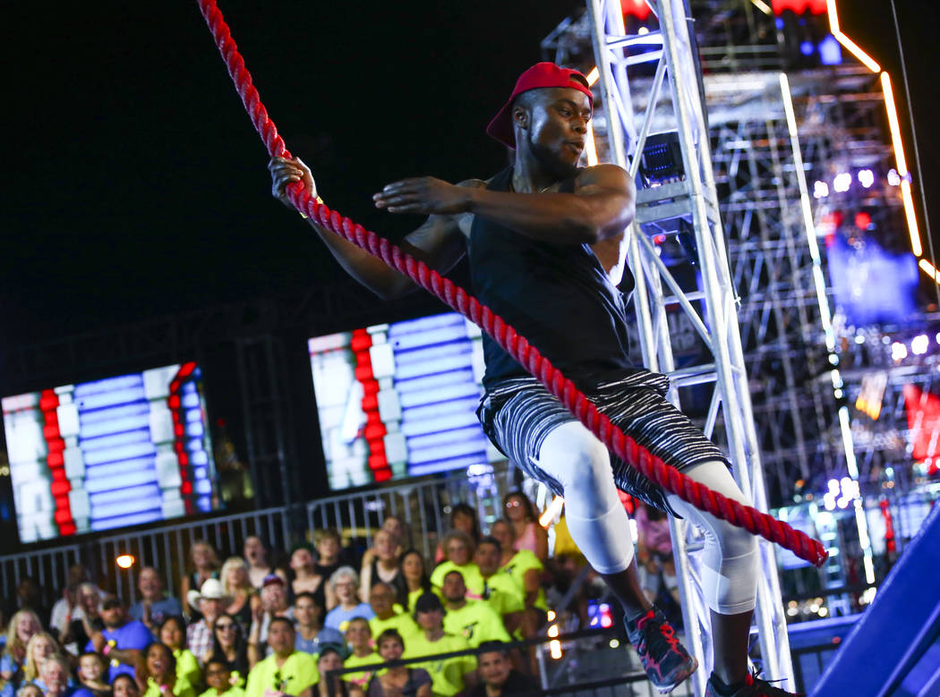 DJ Hue Holla of Hot 97.5 completes the first obstacle from stage one during demonstrations befo ...