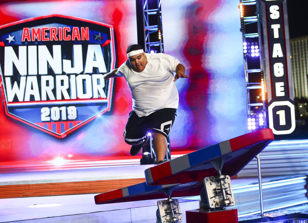 Adrian Hernandez of Hot 97.5 attempts the first obstacle from stage one during demonstrations b ...
