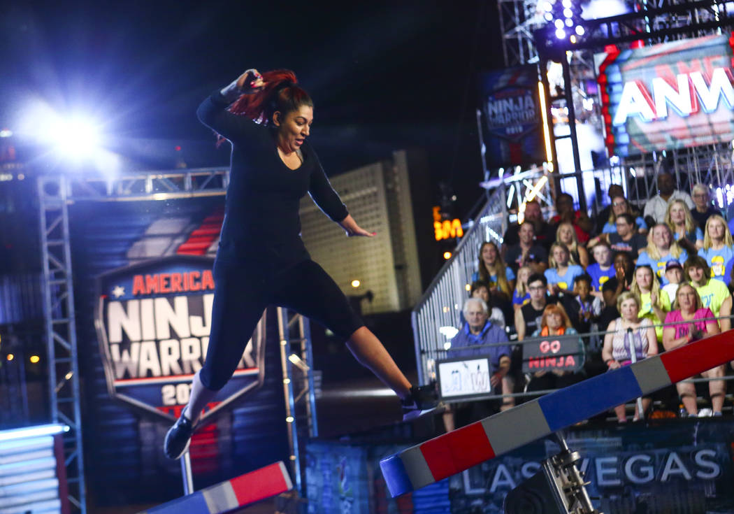 Nancy Danae of Hot 97.5 attempts the first obstacle from stage one during demonstrations before ...