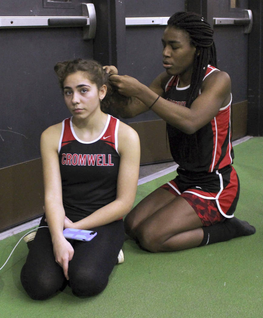 In this Feb. 7, 2019 file photo, Cromwell High School transgender athlete Andraya Yearwood, rig ...