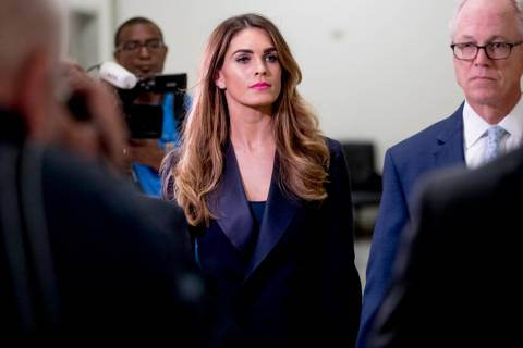 Former White House communications director Hope Hicks arrives for closed-door interview with th ...