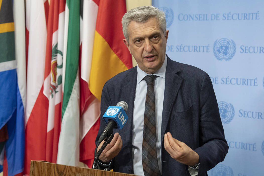 In this April 19, 2019 photo provided by the United Nations, Filippo Grandi, the United Nations ...