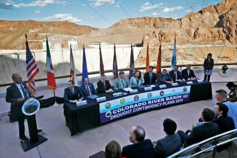 Terry Fulp, Lower Colorado Regional Director for the Bureau of Reclamation, far left, addresses ...