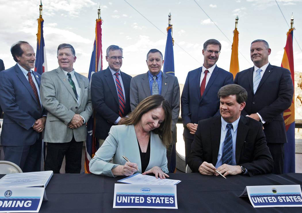 Commissioner of the U.S. Bureau of Reclamation Brenda Burman signs the interstate drought conti ...