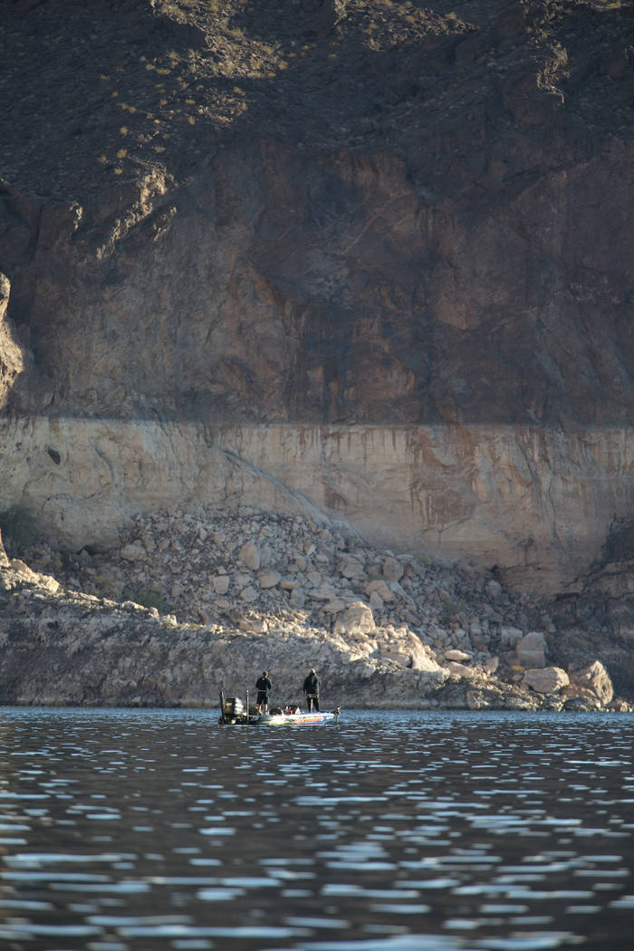 A boat cruises through The Narrows at Lake Mead National Recreation Area on Wednesday, Oct. 17, ...