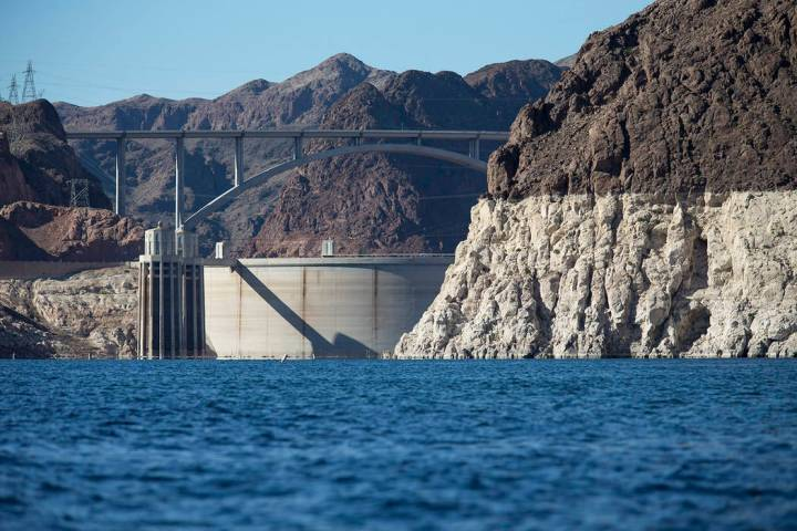 Hoover Dam and the Mike O'Callaghan-Pat Tillman Memorial Bridge are seen from the Colorado Rive ...