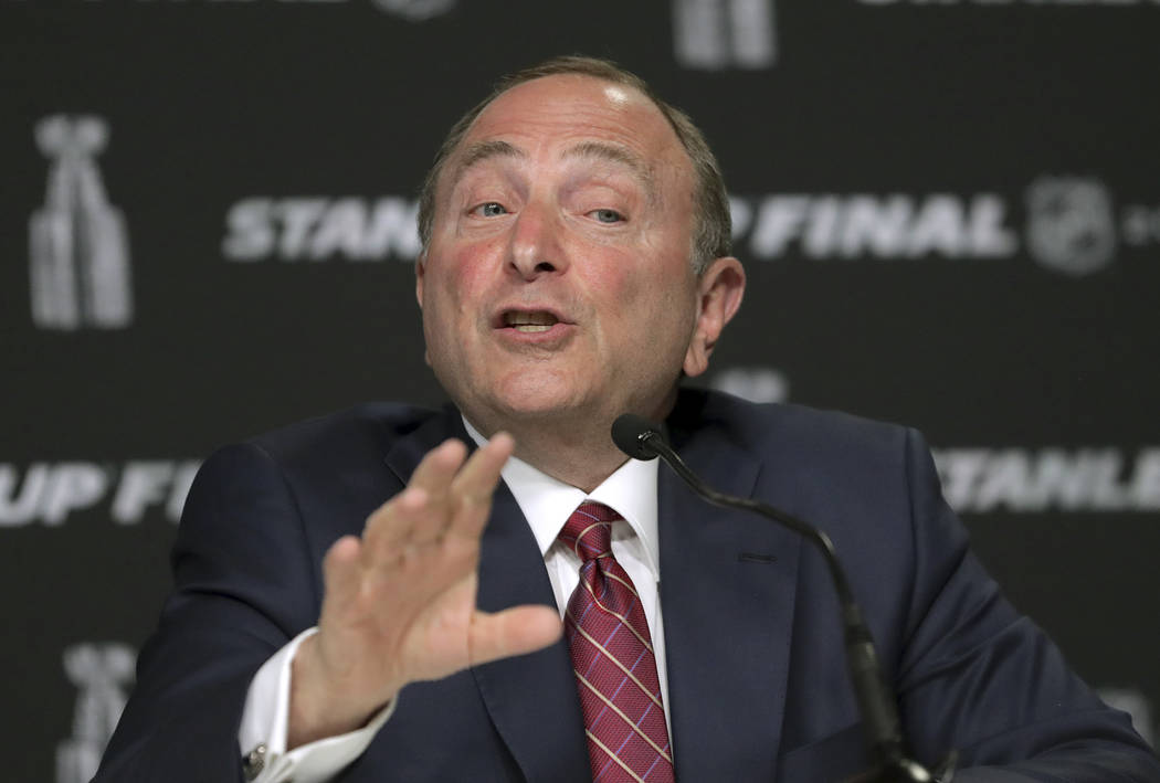 NHL Commissioner Gary Bettman speaks to the media before Game 1 of the NHL hockey Stanley Cup F ...
