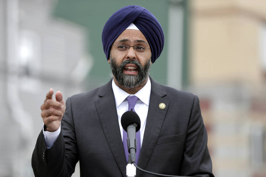In this Aug. 1, 2018 file photo, New Jersey Attorney General Gurbir Grewal speaks during a news ...