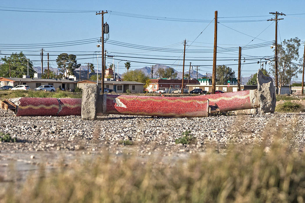 A trio of red mosaic columns are among the few relics left of the Moulin Rouge on April 20, 201 ...