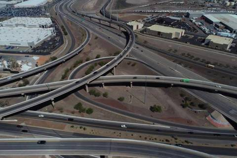 An aerial photo of the Henderson Spaghetti Bowl taken April, 2, 2019. (NDOT)