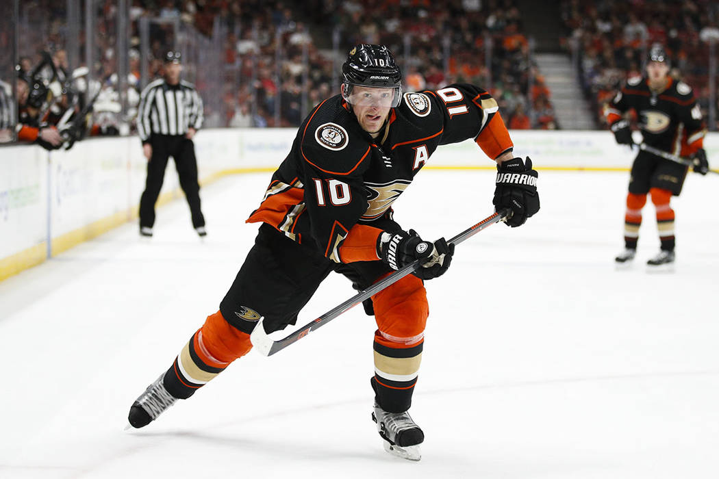 In this March 18, 2018, file photo, Anaheim Ducks' Corey Perry skates during the second period ...