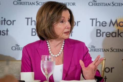 House Speaker Nancy Pelosi speaks to journalists at a breakfast sponsored by The Christian Scie ...