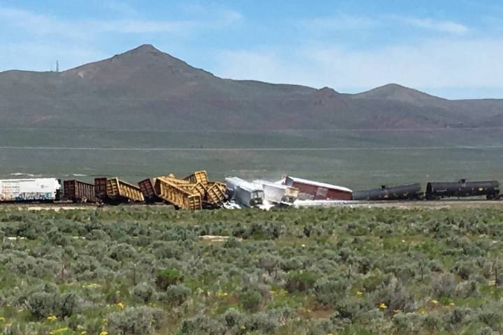 A train carrying munitions has derailed in northern Nevada. (@NHPNorthernComm/Twitter)