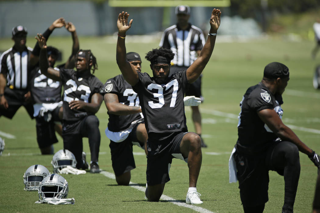 Oakland Raiders defensive back Dylan Mabin (37) during NFL football minicamp Tuesday, June 11, ...