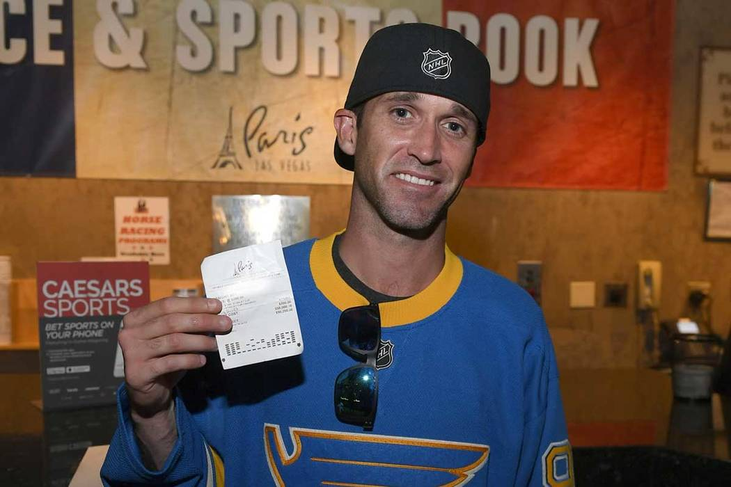 St. Louis Blues fan Brandon Chapel collected $50,200 for a winning bet on the Stanley Cup at Pa ...