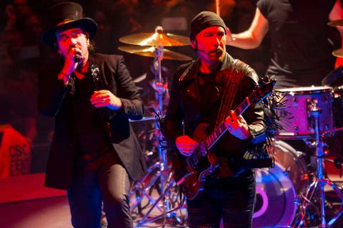 Bono, left, and The Edge of U2 perform at T-Mobile Arena in Las Vegas on Friday, May 11, 2018. ...