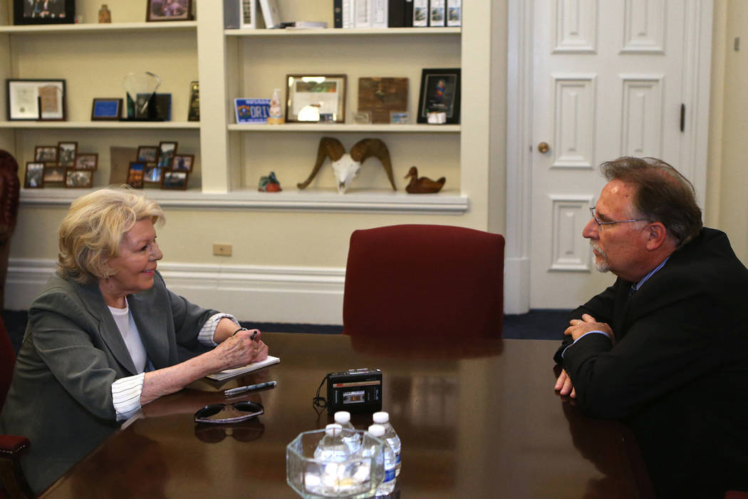 Ande Engleman interviews Mike Willden, then-Gov. Brian Sandoval's chief of staff, at the Capito ...