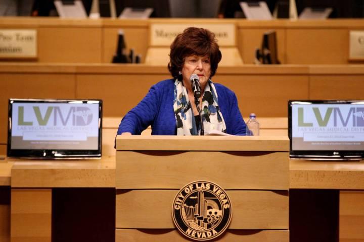 Las Vegas Councilwoman Lois Tarkanian welcomes medical professionals at Las Vegas City Hall Tue ...