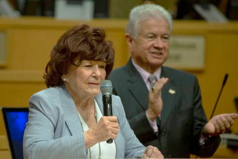 Ward 1 Councilwoman Lois Tarkanian, left, speaks during her last council meeting, while Ward 3 ...