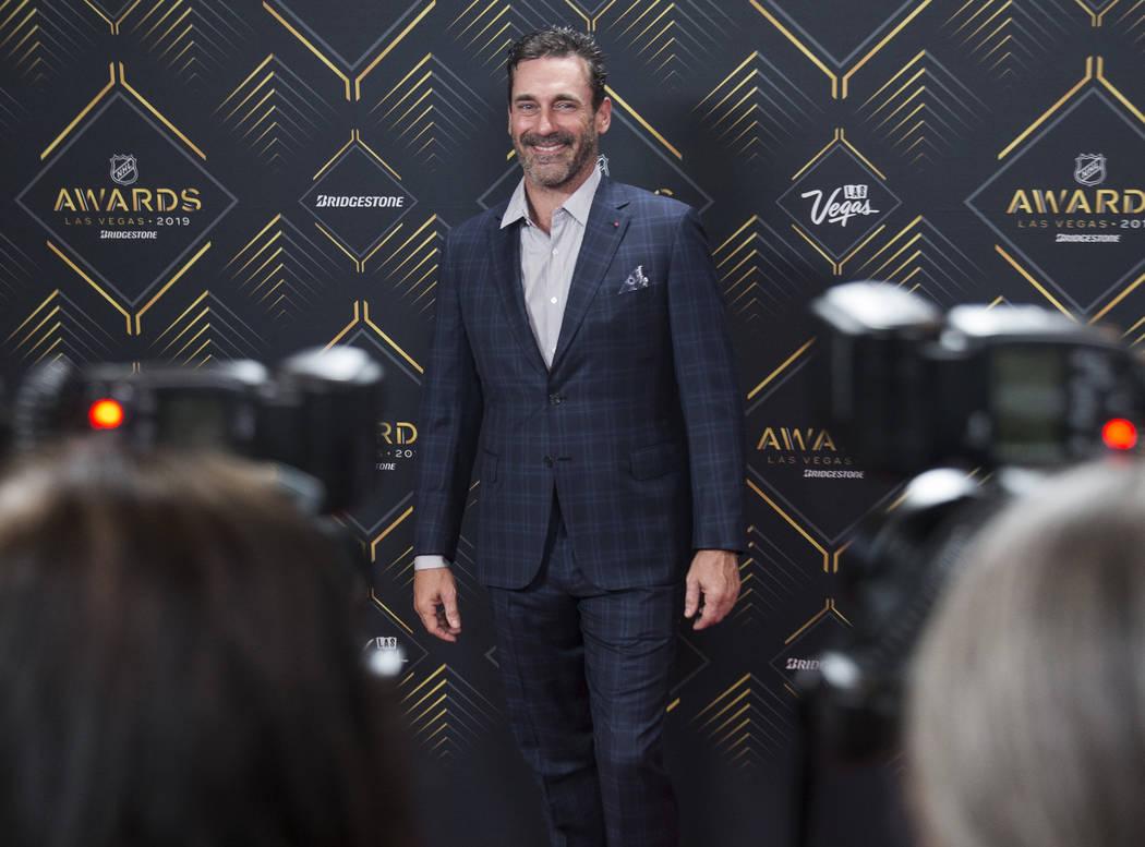 Actor John Hamm walks the red carpet before the start of the NHL Awards on Wednesday, June 19, ...