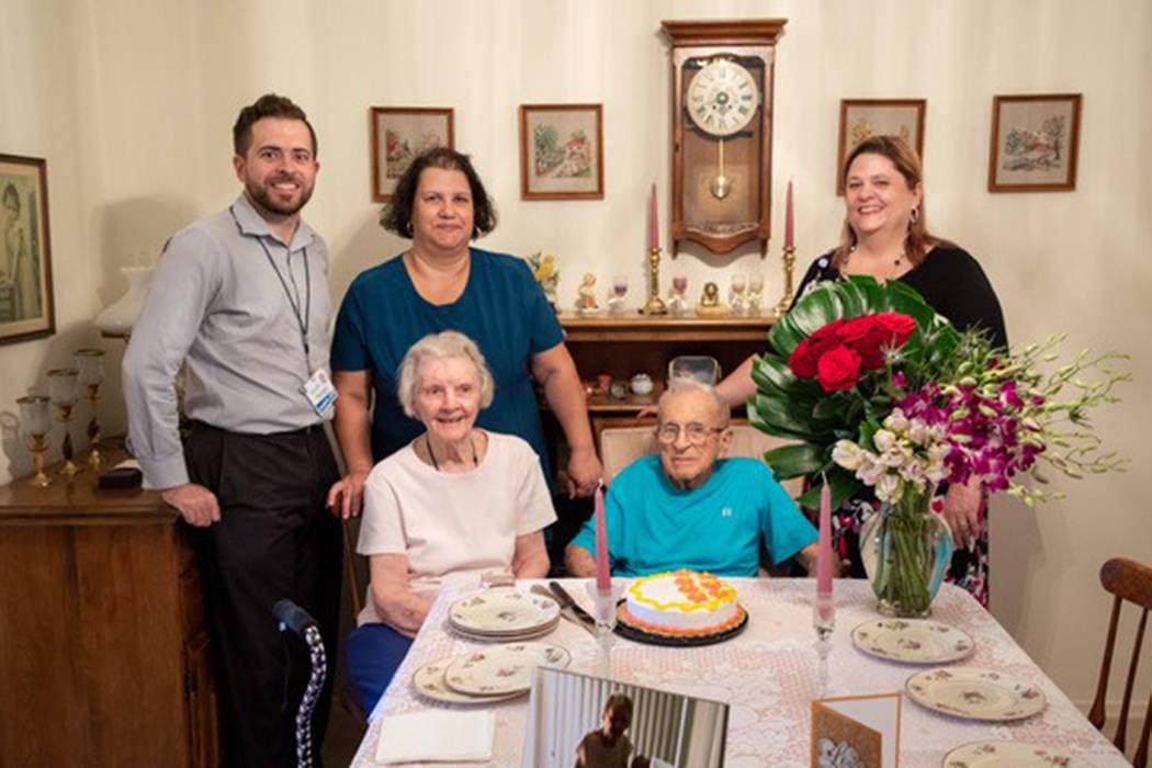 Nancy and Byron Houseworth, sitting, mark their 76th wedding anniversary with Chaplain Richard ...